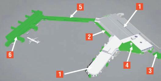 01 - Terminal existente; 02 - Extensão do sistema de bagagem automatizado; 03 - Nova central de resíduos sólidos; 04 - Ampliação do terminal existente; 05 - Conexão entre terminais (conector); 06 - Novo pier (6 novas pontes de embarque)